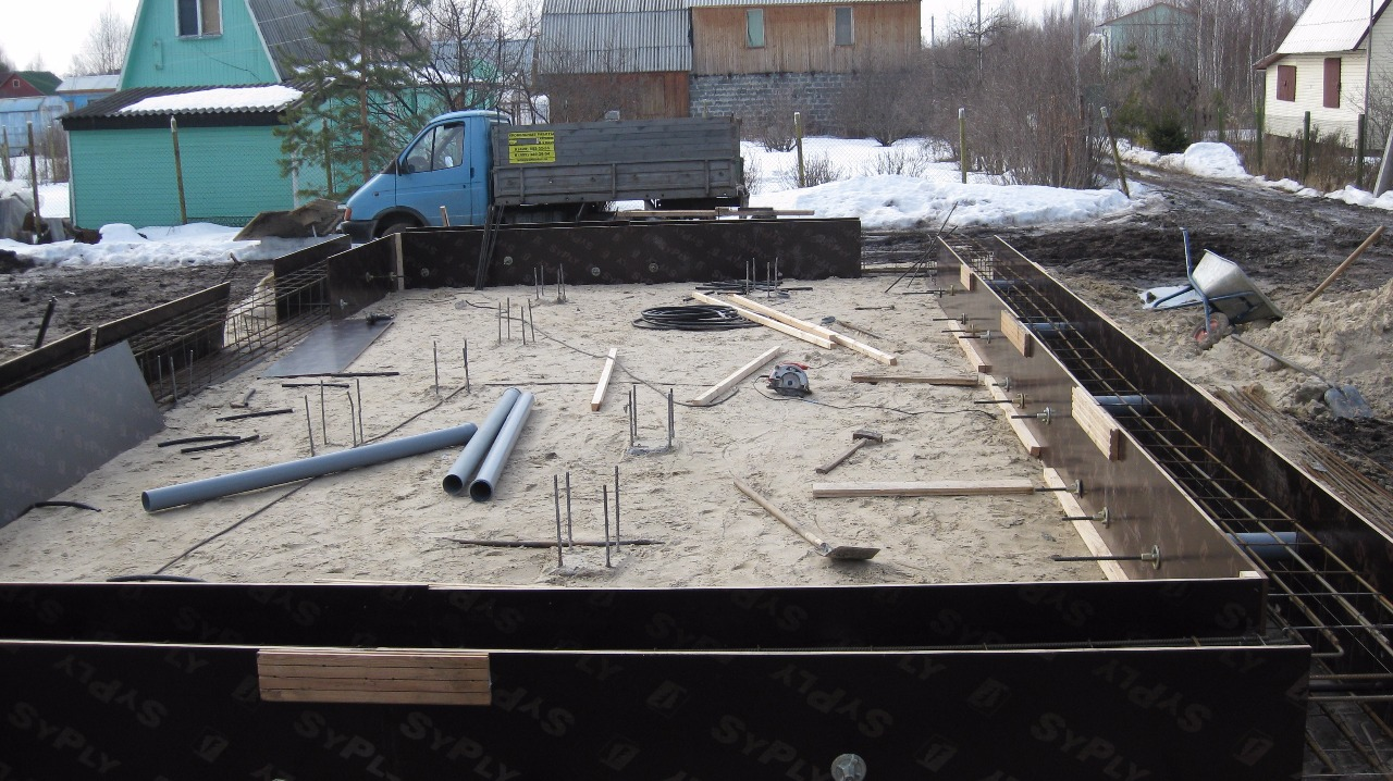Строительство фундамента бани в Королёве